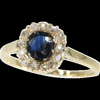Diamond and Sapphire Engagement Ring ca.1935