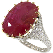 Natural Untreated Ruby and Diamond Ring ca.1920