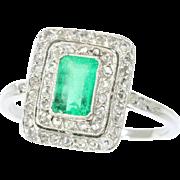 Art Deco Emerald and Diamond Ring ca.1920