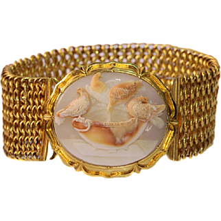 Antique Victorian Cameo and Gold Link Bracelet c.1850