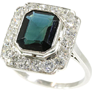 Vintage Sapphire and Diamond Ring ca.1950