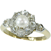 Late 19th Century diamond pearl engagement ring