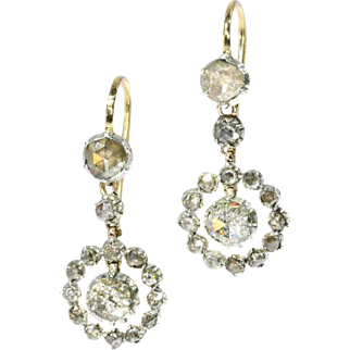 18th Century Diamond Dangle Earrings ca.1780