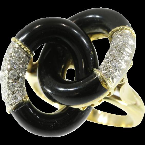 Italian Onyx and Diamonds Ring ca.1970