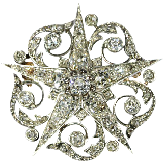 Fine Antique Diamond Star Brooch France ca.1850