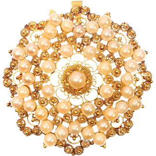 Antique Filigree Gold and Salt Water Pearls Pendant Brooch ca.1890