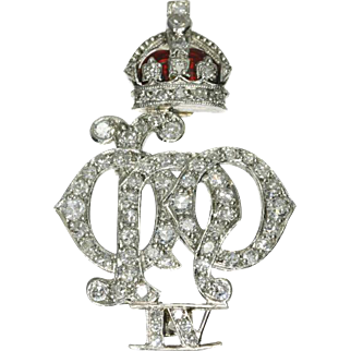 Diamond and Enamel Brooch Crest of 4th Queen's Own Hussars ca.1920