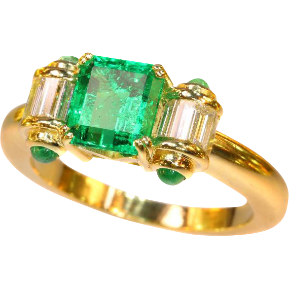 Vintage Colombian Emerald and Diamond Gold Ring ca.1980