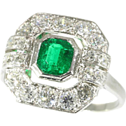 Art Deco Emerald and Diamond Ring ca.1920