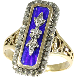 Victorian Blue Enamel and Diamond Ring ca.1870