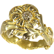Art Nouveau Diamond and Gold Floral Ring ca.1900
