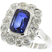 Sapphire and Diamond Engagement Ring ca.1950