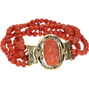 Victorian Coral and Gold Cameo Bracelet ca.1880