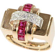 Retro Diamond and Ruby Cocktail Ring ca.1940