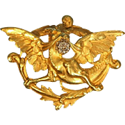 Antique Gold and Diamond Griffin Brooch ca.1890