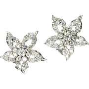 Diamond and White gold Flower Clip On Earrings ca.1960