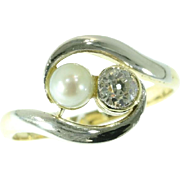 Pearl and Diamond Gold Ring ca.1910