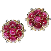 Natural Cabochon Ruby and Diamond Clip On Earrings ca.1950