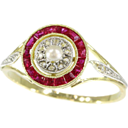 Art Deco Pearl and Ruby Ring France ca.1920