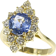 Natural Sapphire and Diamond Engagement Ring ca.1970