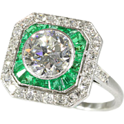 Art Deco Emerald and Diamond Engagement Ring ca.1920