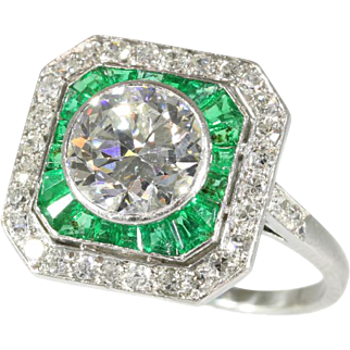 Art Deco Emerald and Diamond Engagement Ring c.1920
