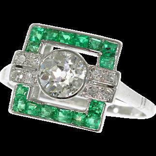 Art Deco Diamond and Emerald Ring ca.1920