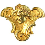 French Art Nouveau Gold and Diamond Brooch ca.1900