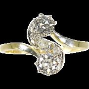 Art Deco Diamond and Gold Twist Ring ca.1920