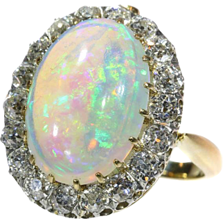 French Antique Opal and Diamond Ring Necklace c.1900