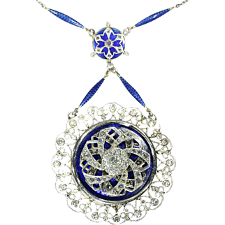 Edwardian Diamond and Blue Enamel Pendant Necklace ca.1910