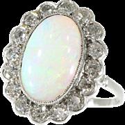 Vintage Precious Opal and Diamond Ring ca.1950