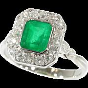 Art Deco Natural Brazilian Emerald and Diamond Ring ca.1920