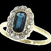Natural Dark Blue Sapphire and Diamond Ring ca.1920