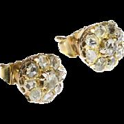 Victorian Antique Cluster Diamond Stud Earrings ca.1880
