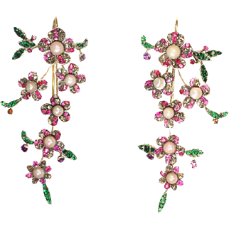 Antique Diamond and Stone Floral Dangle Earrings ca.1780