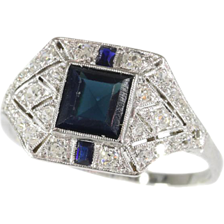Art Deco Natural Sapphire and Diamond Ring c.1920