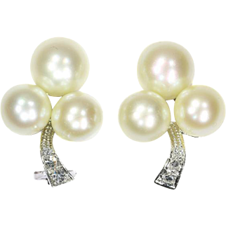Vintage Pearl and Diamond Clip On Earrings