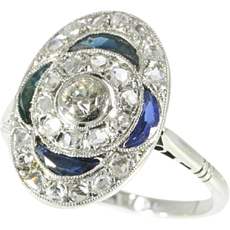 Art Deco Sapphire and Diamond Engagement Ring c.1920