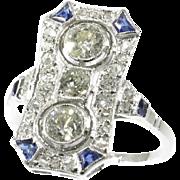 Art Deco Diamond and Sapphire Ring ca.1920