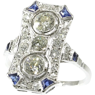 Art Deco Diamond and Sapphire Ring ca.1920