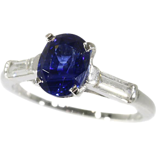 Certified Natural Sapphire and Diamond Engagement Ring ca.1950
