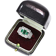 Pair Rings Emerald and Diamond Platinum Ring ca.1950