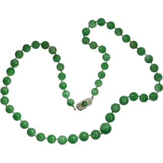 Certified top quality natural jadeite beads necklace translucent mottled light green