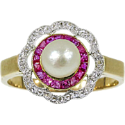 Art Deco Ruby and Pearl Ring c.1920