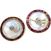 Art Deco Moonstone and Ruby Cuff Links c.1920