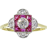 Art Deco Ruby and Diamond Ring c.1920
