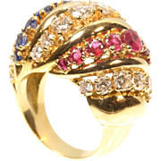 Vintage gold and gemstones cocktail ring c.1950