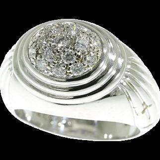 Boucheron signed diamond cluster ring c.1980