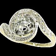 Belle Epoque twirled diamond engagement ring ca.1925